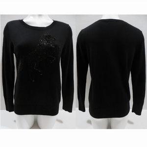 Halogen sweater Medium Petite PM sequin horse knit